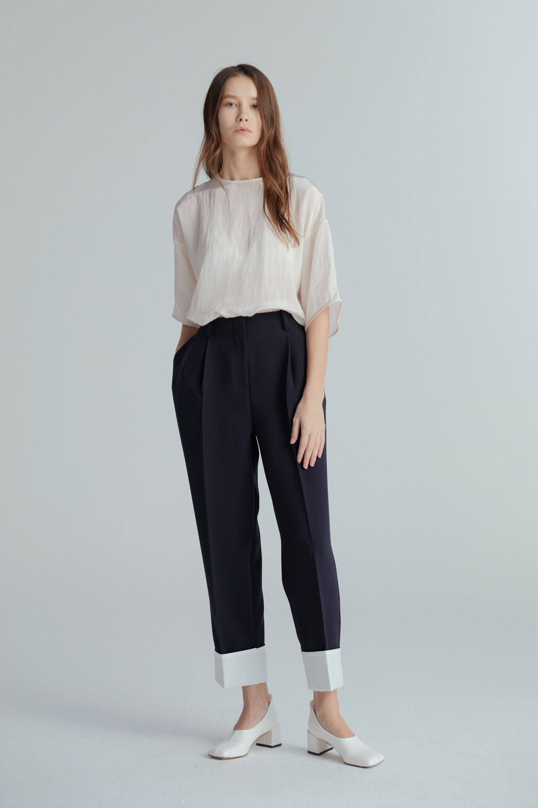 ROLL UP PANTS (NAVY)