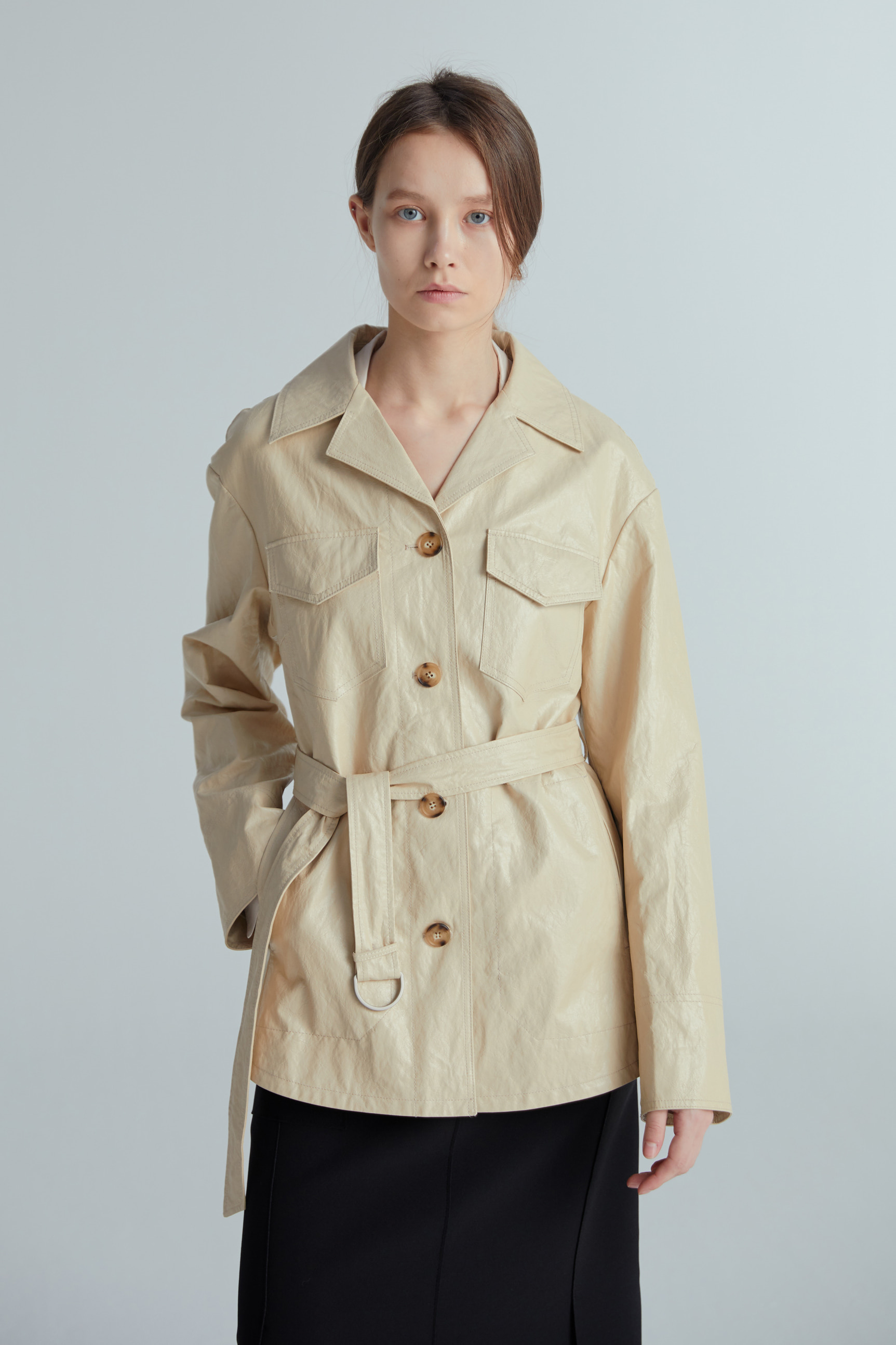 LEATHER BELT JACKET (BEIGE)