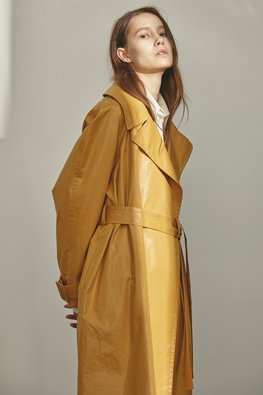 POCKET FOIL TRENCH COAT (2COLOR)