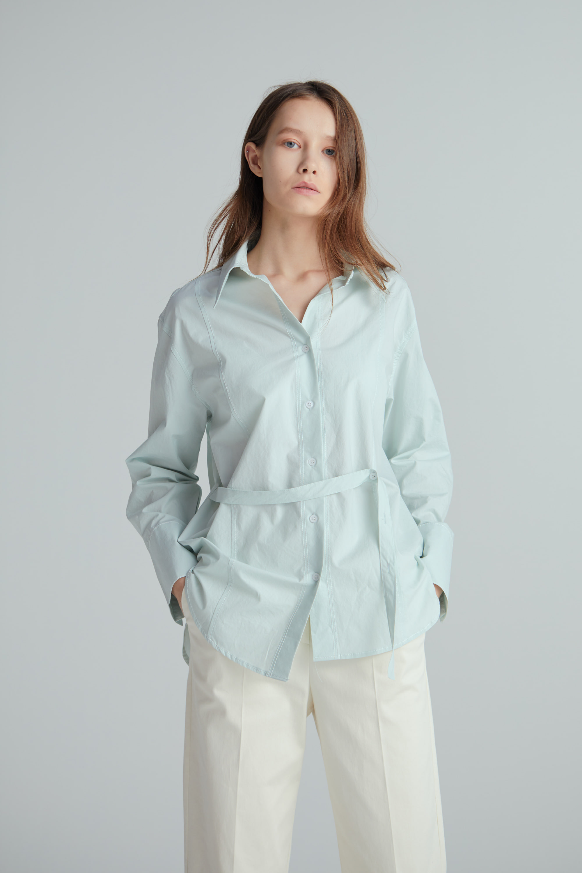 BUTTON STITCH SHIRT (2COLOR)